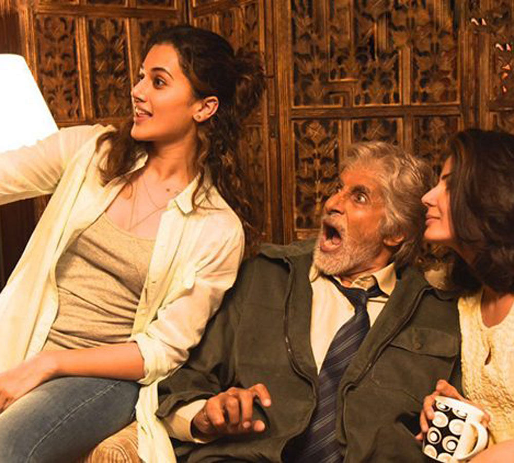 This is a still from 'Pink' featuring Taapsee Pannu along with Amitabh Bachchan.