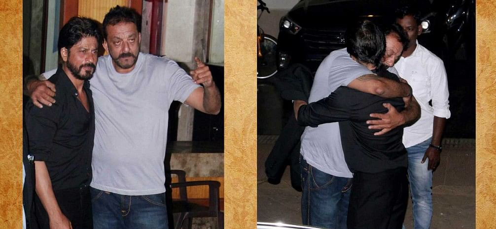 Shah Rukh Khan visited Sanjay Dutt at his home on Sunday.