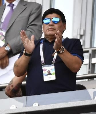 Former soccer player Diego Maradona of Argentina. (Xinhua/Chen Yichen/IANS)