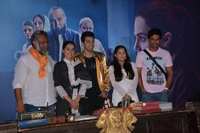 "Mumbai: Filmmaker Anubhav Sinha with actors Rajat Kapoor and Taapsee Pannu at the trailer launch of ""Mulk"" in Mumbai on July 9, 2018. (Photo: IANS)"
