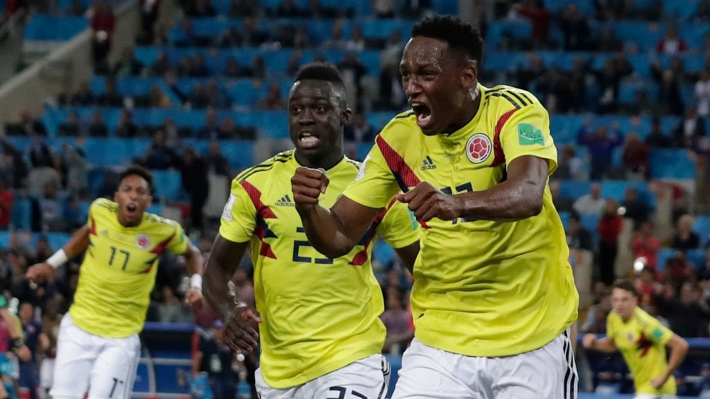 Colombia's Yerry Mina celebrates after scoring his first side's goal during their Round of 16 match against England at the Spartak Stadium on Tuesday.