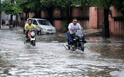 Amritsar: A view of water logged streets of Amritsar after heavy rains lashed the city on July 3, 2018. (Photo: IANS)