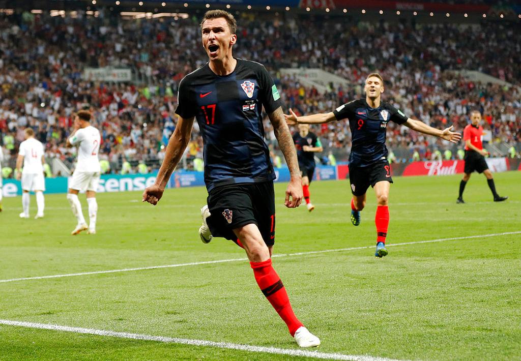 Mario Mandzukic reacts after scoring the winner for Croatia.