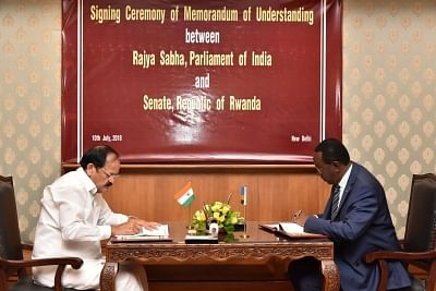 New Delhi: Vice President M. Venkaiah Naidu signs an MoU with Rwanda Senate President Bernard Makuza, in New Delhi on July 10, 2018.(Photo: IANS/PIB)