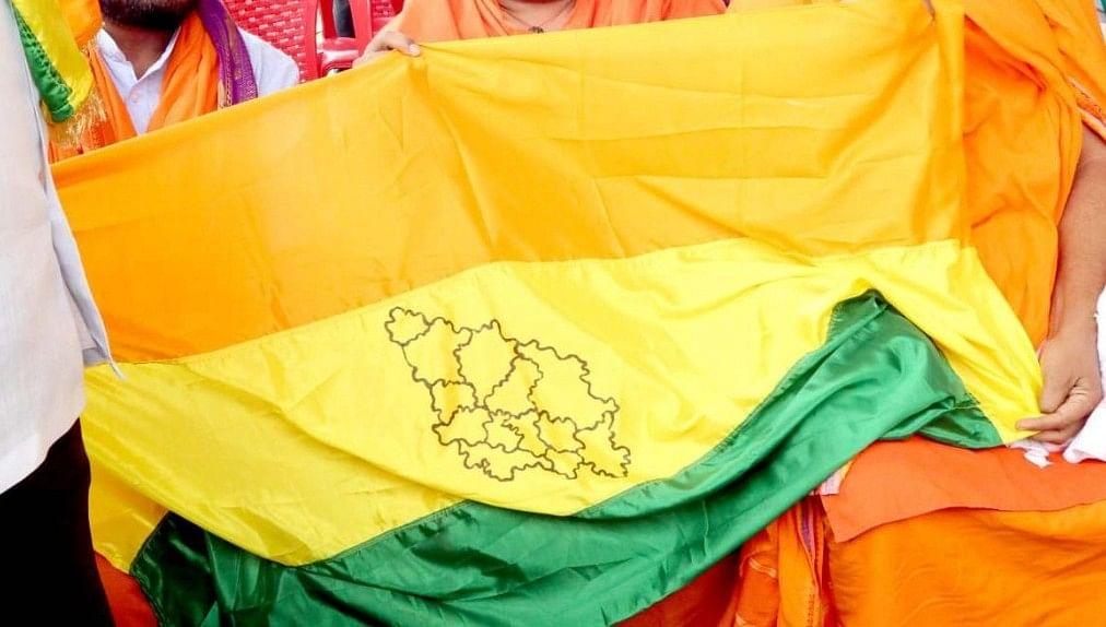 Protesters holding a North Karnataka flag.