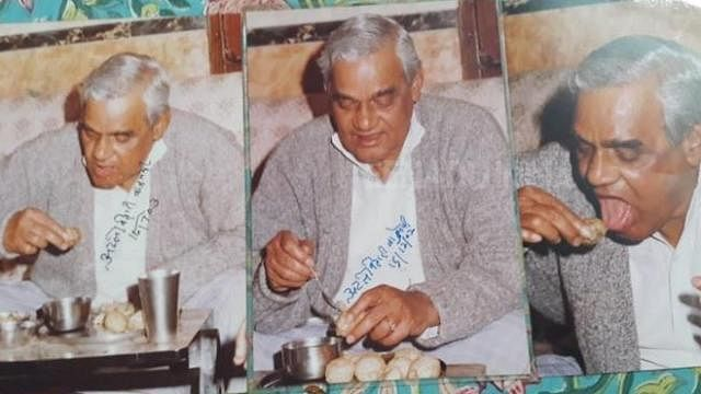 A photograph of AB Vajpayee while eating <i>paani-puri</i>.&nbsp;