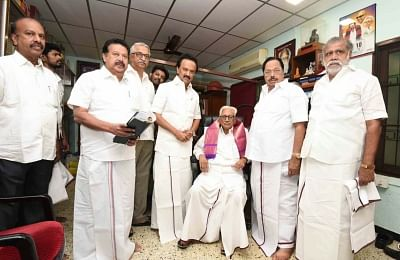 Chennai: DMK leaders M. K. Stalin and Durai Murugan along with other party leaders at the party office where they filed their nominations for the post of party president and treasurer respectively, in Chennai on Aug 26, 2018. DMK will hold a meeting of its General Council on August 28 to elect a party President following the death of former Chief Minister M. Karunanidhi. (Photo: IANS)