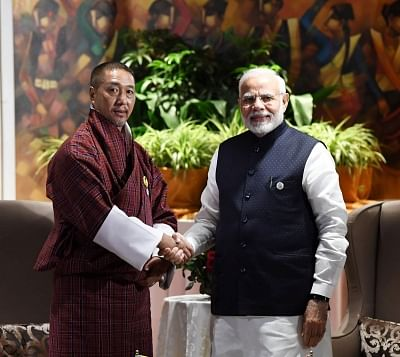 Kathmandu: Prime Minister Narendra Modi meets Bhutan Chief Justice and Chief Adviser to the Interim Government Dasho Tshering Wangchuk on the sidelines of the 4th BIMSTEC Summit, in Kathmandu, Nepal, on Aug 31, 2018. (Photo: IANS/PIB)