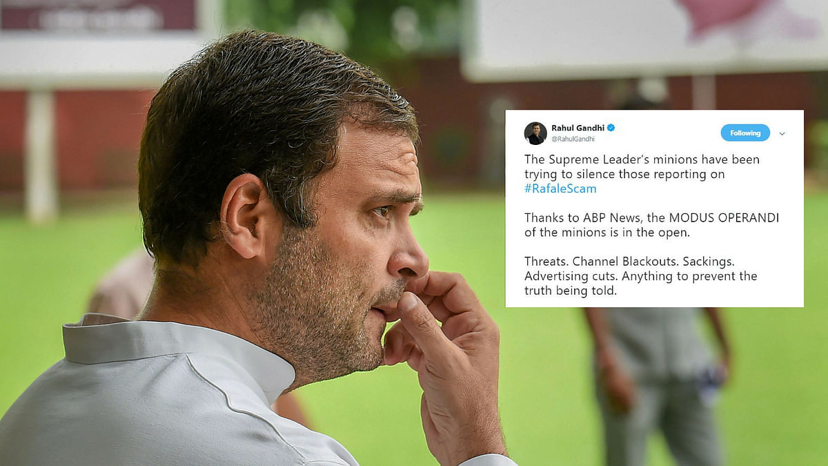 Rahul Gandhi alleges Centre's attempt to muzzle media on reporting of Rafale aircraft deal.