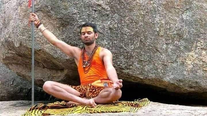 RJD Chief Lalu Prasad's eldest son Tej Pratap Yadav in a meditative pose.