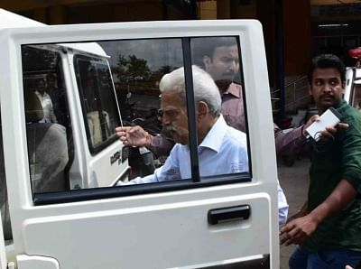 Secunderabad: Maoist ideologue Varavara Rao being taken away by Maharashtra Police for his alleged involvement in a plot to assassinate Prime Minister Narendra Modi after his medical chekup at Gandhi Hospital, in Secunderabad, on Aug 28, 2018. A police team from Pune arrested the revolutionary writer after searching his house and the houses of his family members and friends including a journalist. (Photo: IANS)