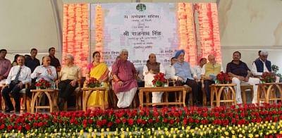 New Delhi: Union Ministers Rajnath Singh, Hardeep Singh Puri, Manoj Sinha, Lieutenant Governor Anil Baijal and BJP MP Meenakshi Lekhi at the inauguration of New Delhi Municipal Council (NDMC) Wifi - FTTH (Fibre to the Home) and Smart City projects, in New Delhi, on  Aug 13, 2018. (Photo: IANS)
