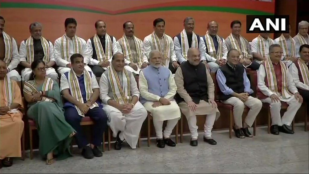 Prime Minister Narendra Modi, BJP President Amit Shah, Home Minister Rajnath Singh, Finance Minister Arun Jaitley and Chief Ministers of BJP-governed states at party headquarters in Delhi.