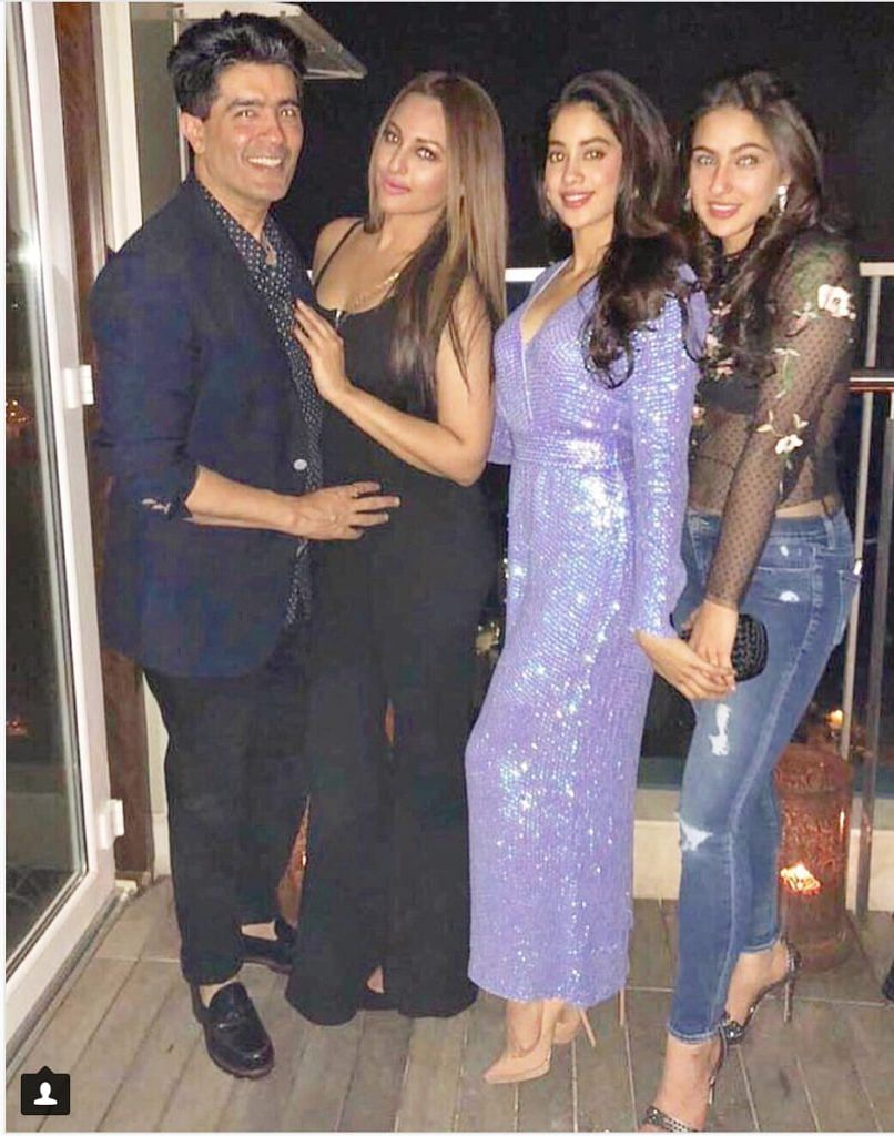 Manish Malhotra as seen with Sonakshi Sinha, Janhvi Kapoor and Sara Ali Khan.