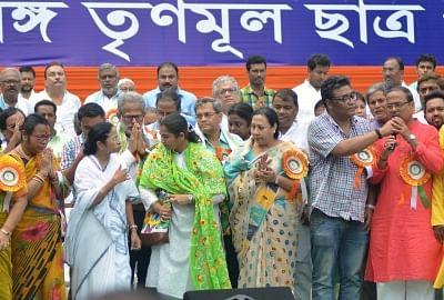 Kolkata: West Bengal Chief Minister and TMC supremo Mamata Banerjee with other dignitaries at Trinamul Congress Chhatra Parishad (TMCP) foundation day celebrations, in Kolkata, on Aug 28, 2018. (Photo: Kuntal Chakrabarty/IANS)