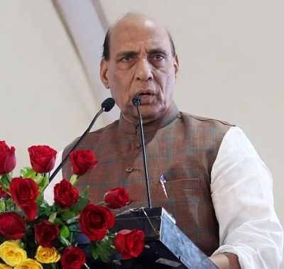 New Delhi: Union Home Minister Rajnath Singh addresses at the inauguration of New Delhi Municipal Council (NDMC) Wifi - FTTH (Fibre to the Home) and Smart City projects, in New Delhi, on  Aug 13, 2018. (Photo: IANS)
