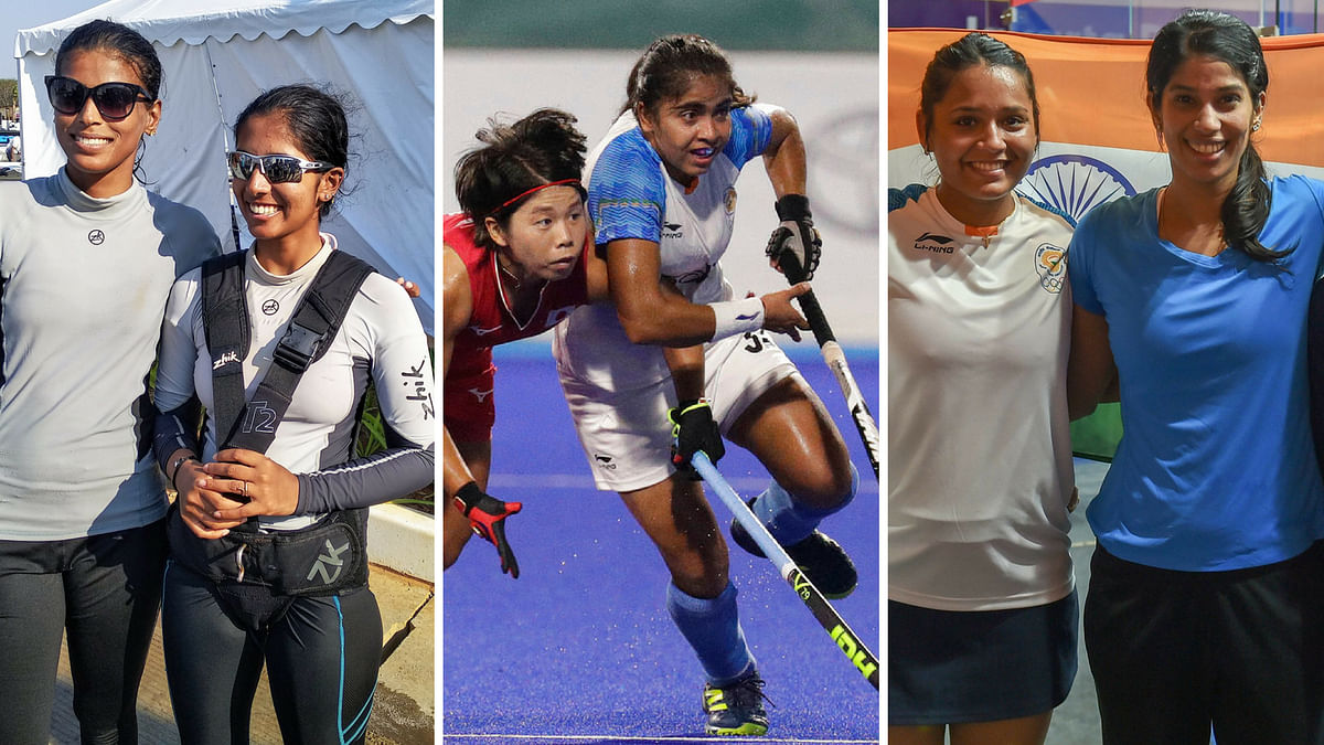 India's silver medallists in sailing Varsha Gautham and Sweta Shervegar, hockey player Neha Goyal and squash players Dipika Pallikal and Joshna Chinappa.