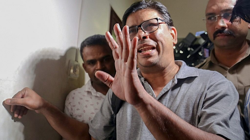 Arun Ferreira, a human rights activist and lawyer, after he was arrested by the Pune Police, in Mumbai on 28 August.