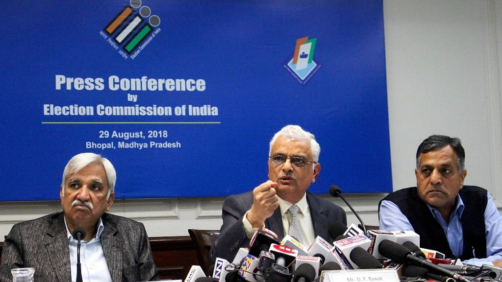 Chief Election Commissioner OP Rawat along with Election Commissioners Sunil Arora (L) and Ashok Lavasa (R).