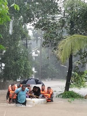 Kerala: Rescue operations underway in various flood-affected areas of Kerala, on Aug 16, 2018. (Photo: IANS/DPRO)