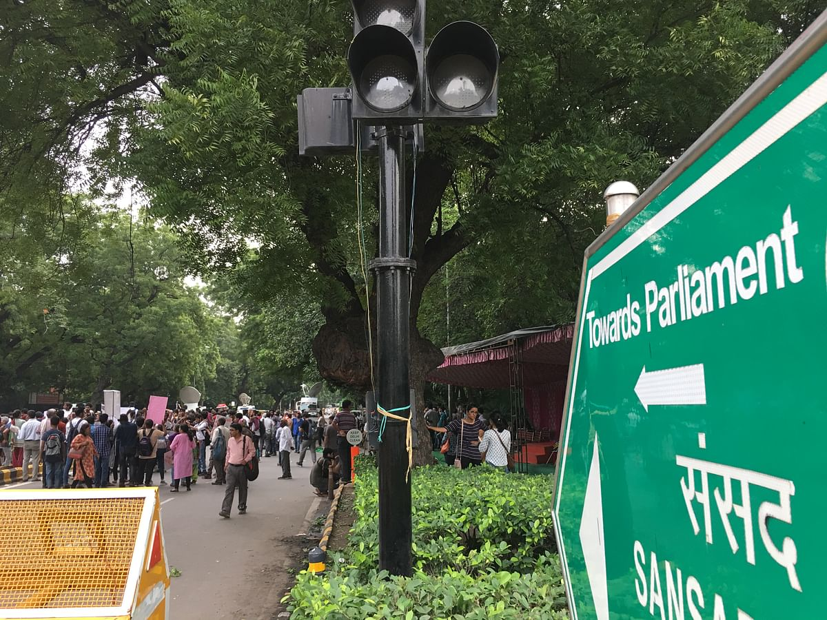 Protest organised to condemn the arrest and persecution of five activists, lawyers and journalists on Parliament Street.