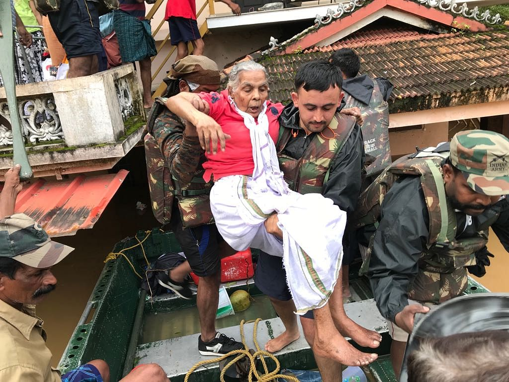 The Indian Army in the middle of rescue missions during the Kerala floods.