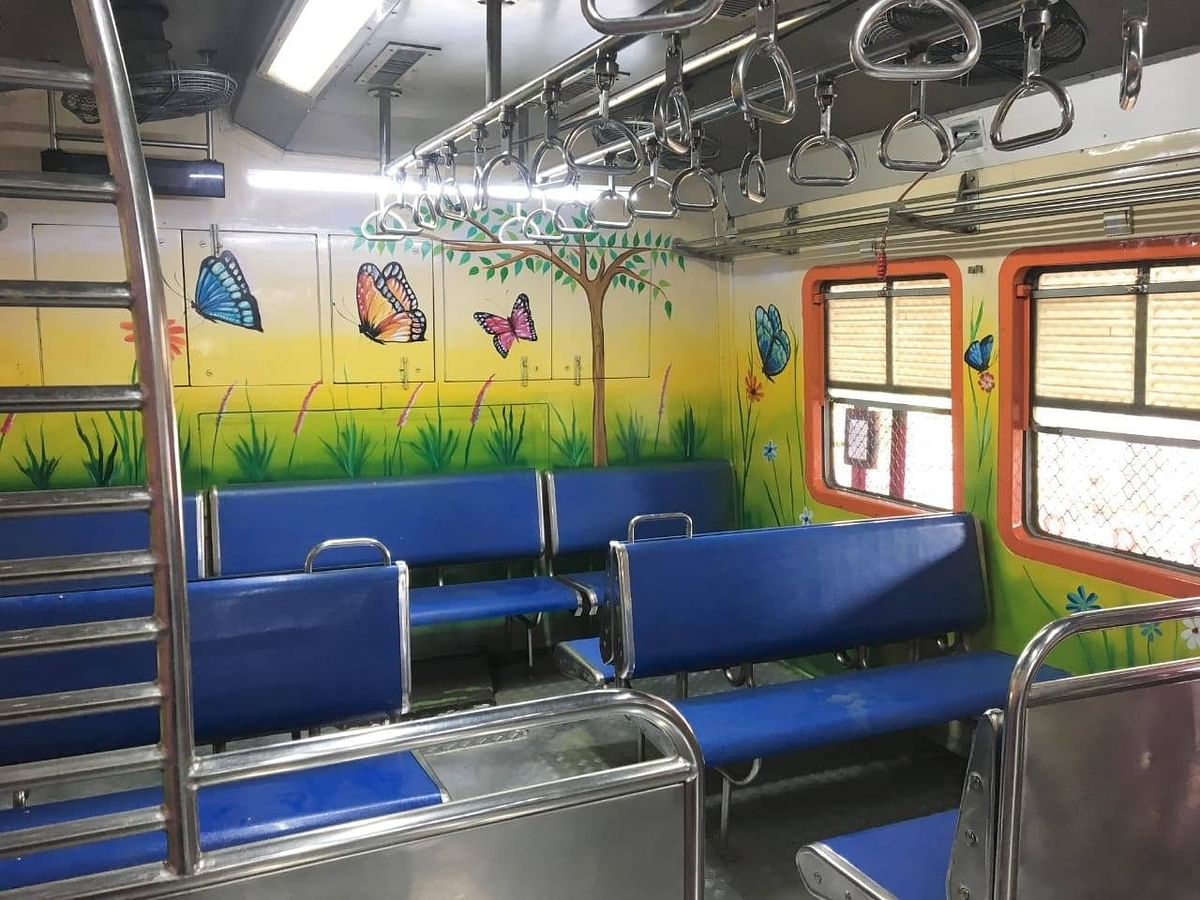 Central Railway is painting the ladies coaches from inside in new colours.