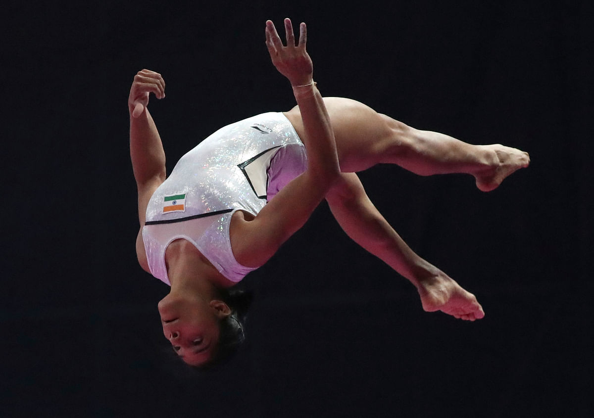 Aruna Budda Reddy  finished  seventh in the vault qualification with a score of 13.350.