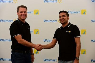 Walmart CEO Doug McMillon and Flipkart Co-Founder and CEO Binny Bansal.
