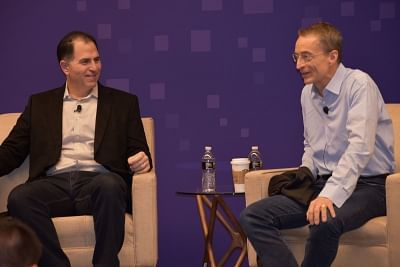 Las Vegas: Dell Technologies CEO Michael Dell with VMware CEO Pat Gelsinger at the opening session of the