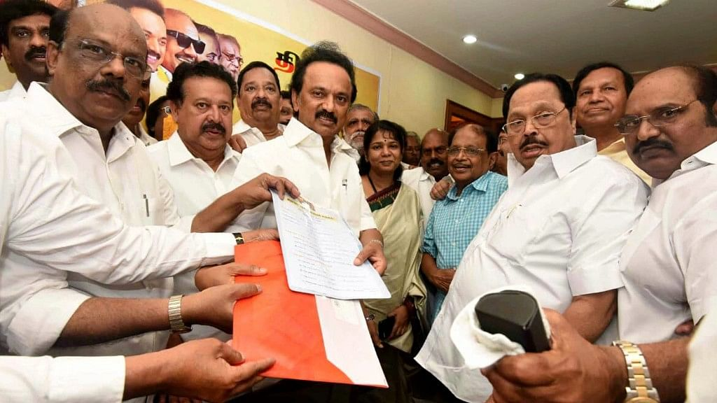 MK Stalin had filed his nomination to be elected as the DMK president at Anna Arivalayam, the party headquarters in Chennai, on Sunday, 26 August.