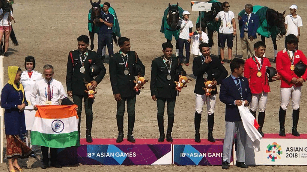 Indian riders won the Silver medal in the equestrian team event at Asian Games 2018.
