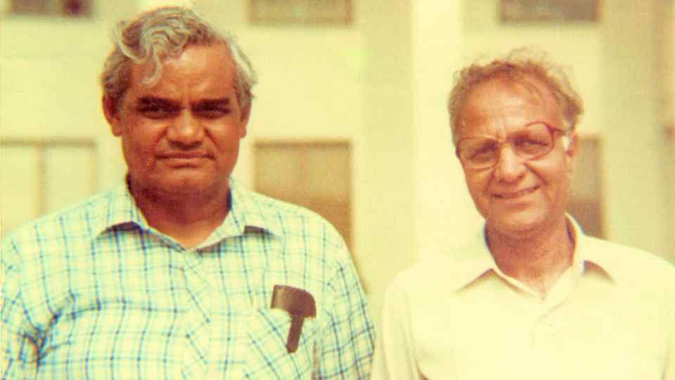 A picture of Atal Bihari Vajpayee (L) from his younger days with popular poet Gulab Khandelwal.