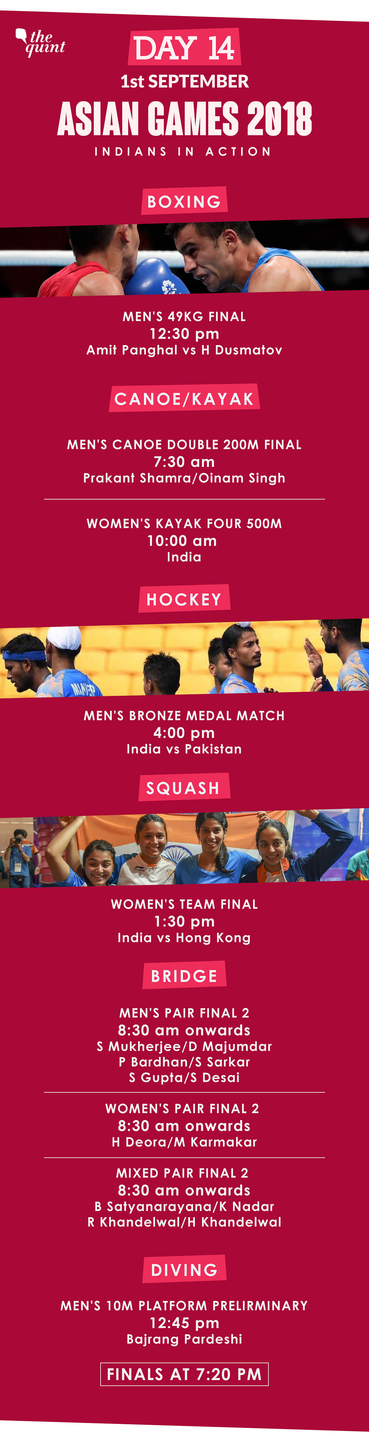 Asiad Day 14 Schedule: India vs Pak in Hockey, Boxer Amit in Final