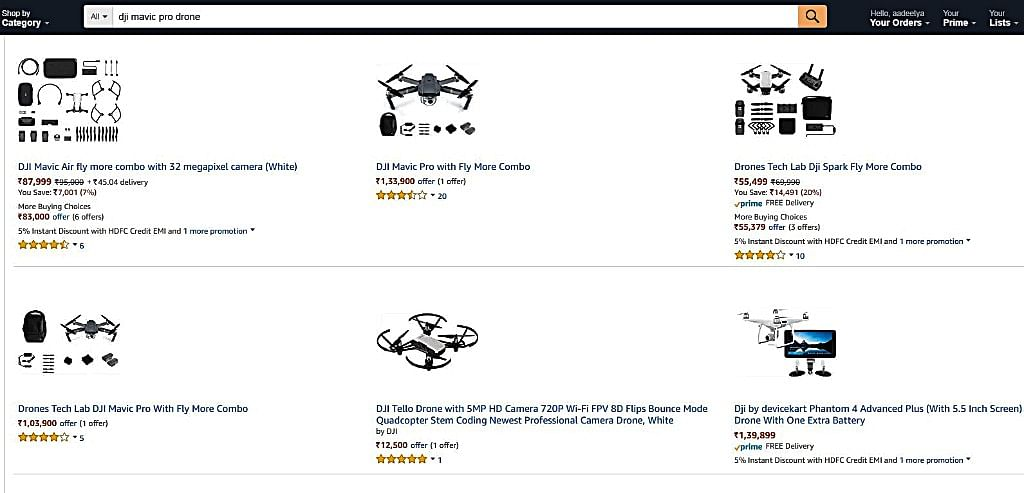 Buying drones online in India is pretty easy, but very expensive.