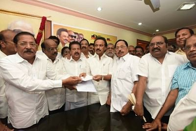 Chennai: DMK Working President M. K. Stalin submits his nomination papers for the post of party president at the party office, in Chennai on Aug 26, 2018. DMK will hold a meeting of its General Council on August 28 to elect a party President following the death of former Chief Minister M. Karunanidhi. (Photo: IANS)