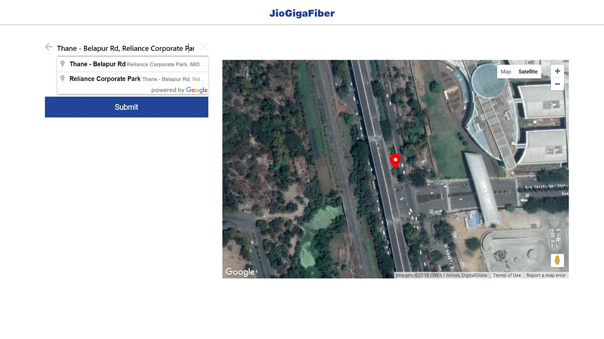 Select the locality where you want to set up Jio GigaFiber