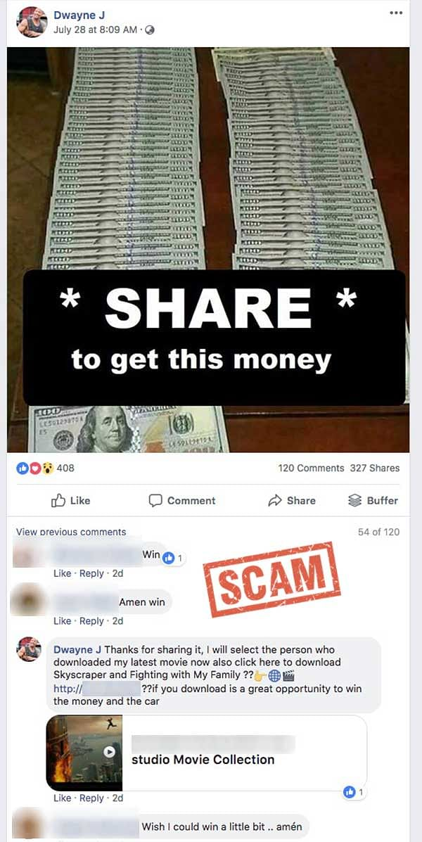 A screenshot of a fake Facebook post claiming 'The Rock' would select a winner from among those who shared or downloaded the content.