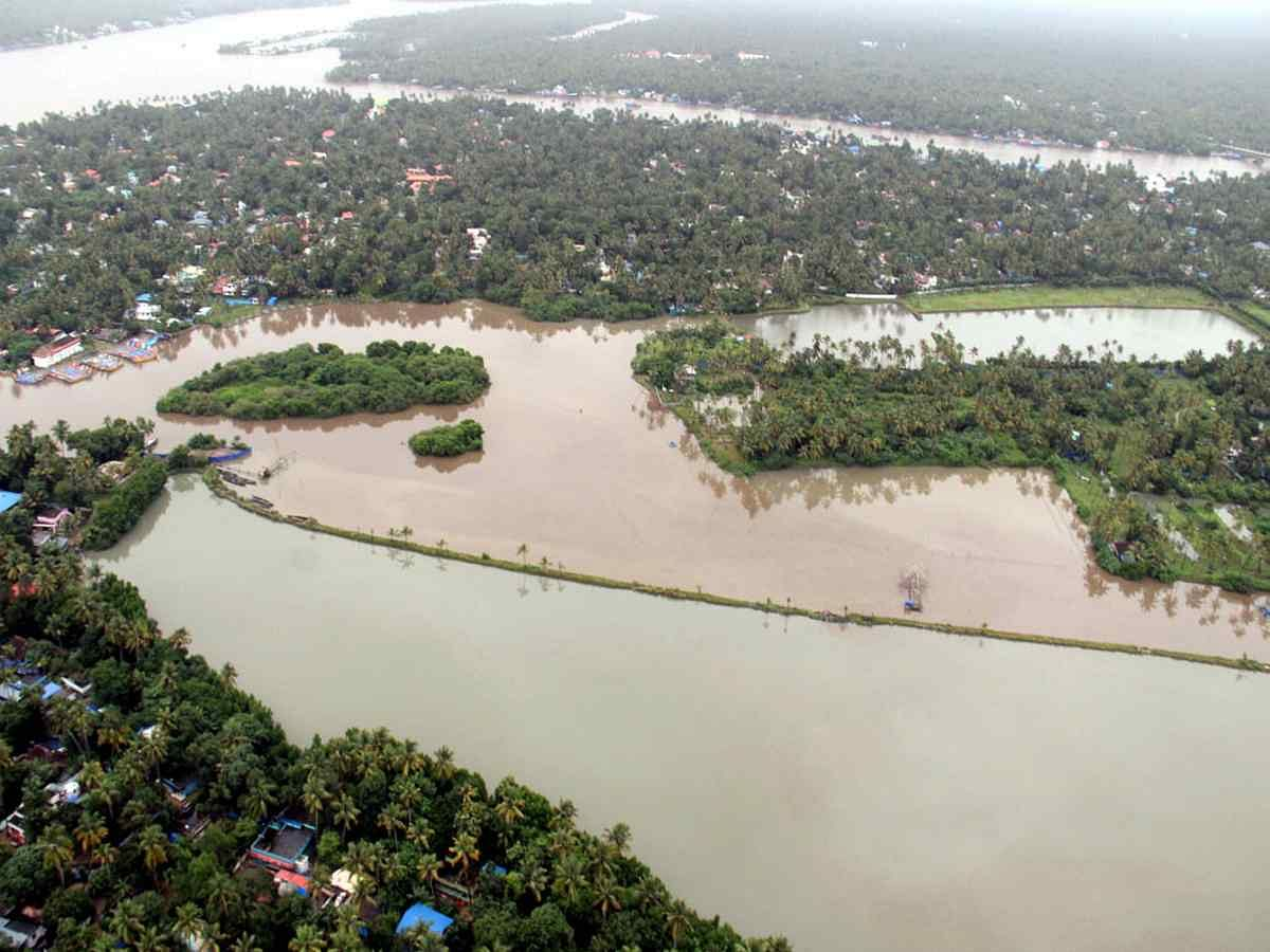 An aerial view of Aluva town following a flash flood after heavy rains, in Kochi.