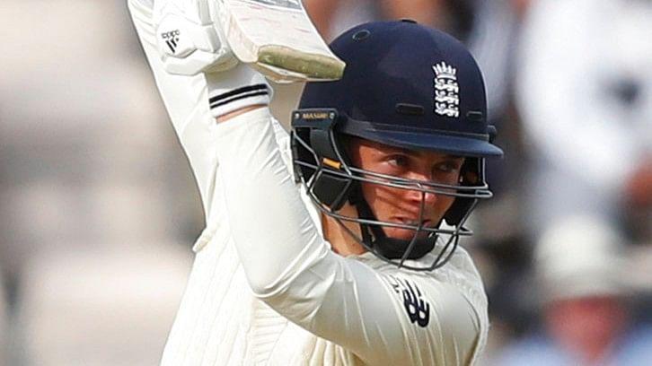 England's Sam Curran plays a shot off the bowling of India's Ishant Sharma.