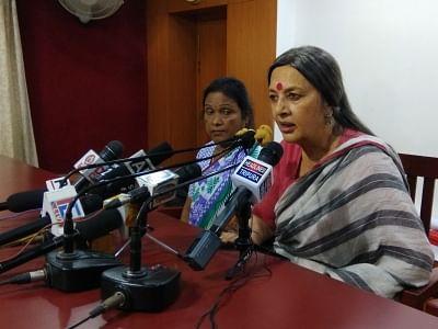 Agartala: CPI-M leader Brinda Karat addresses a press conference in Agartala on Aug 28, 2018. (Photo: IANS)