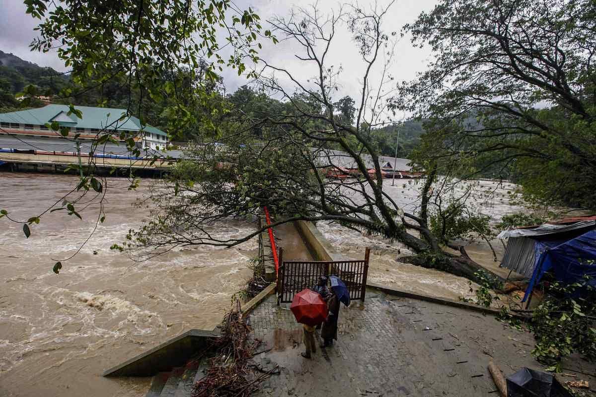 Pampa Manalpuram on the foothills of Sabarimala gets flooded following heavy monsoon rainfall, Pathanamthitta.