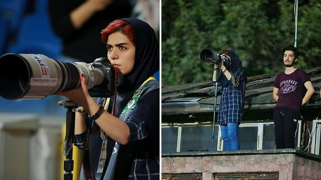 Parisa Pourtaherian is being hailed by netizens for her covering a men's football match despite a ban on female journalists doing so.