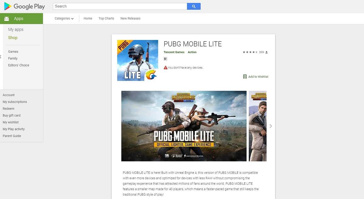 PUBG MOBILE LITE on Google Play Store.