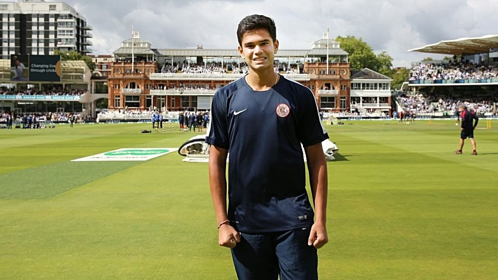 Arjun was there on the ground helping the groundsmen to get the ground ready for play during the first session of play
