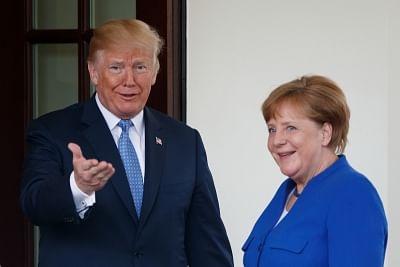 Trump, Merkel support US-EU trade improvement. (Xinhua/Ting Shen/IANS)