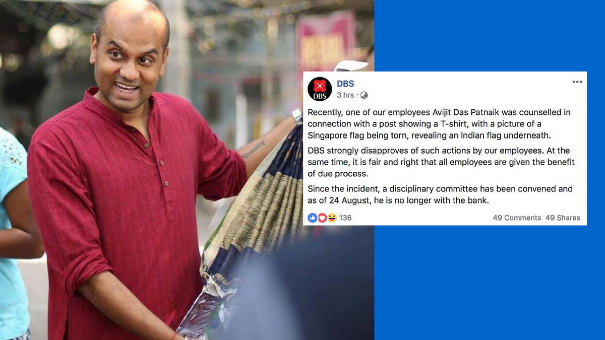 DBS bank fired an employee for sharing a picture of a T-shirt with a print of a Singapore flag being torn to reveal an Indian flag underneath.
