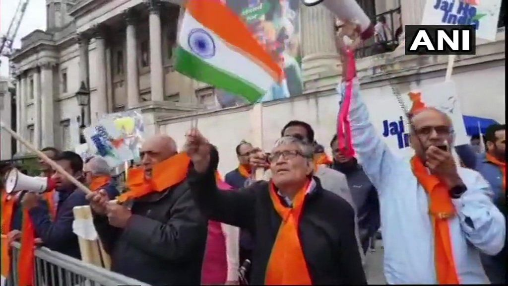 People of Indian origin, living in the United Kingdom, protest against Referendum 2020 in London.