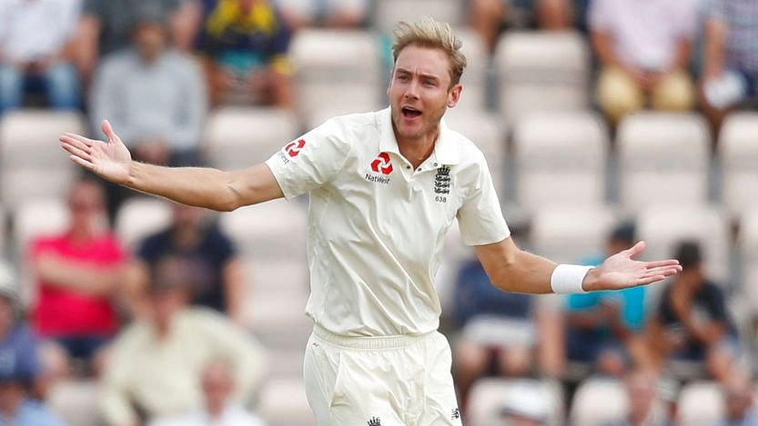 Stuart Broad appeals for a wicket.