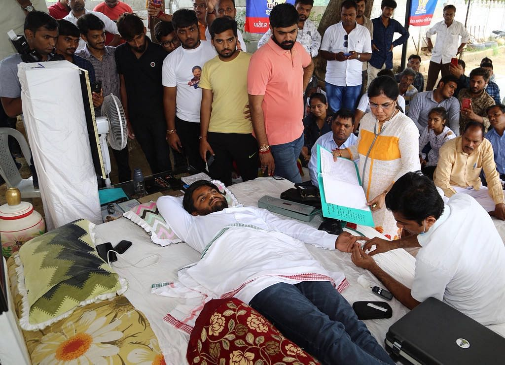 A team of doctors from Sola Civil Hospital in Ahmedabad checked up on Hardik Patel on Monday morning.